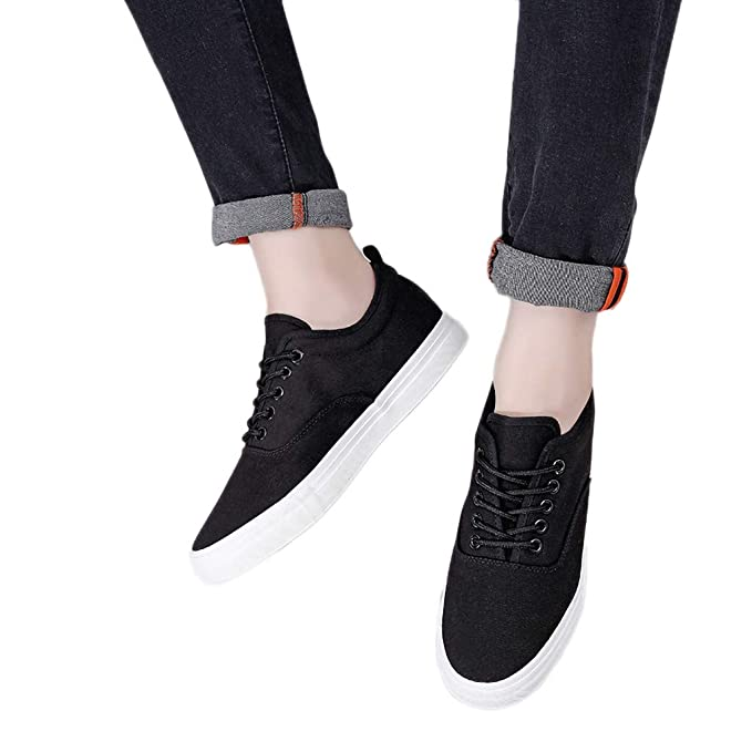 72c77dfd3 Men's Breathable Sneakers - Casual Lace Up Athletic Lightweight Canvas  Sports Loafers Walking Running Flats Shoes