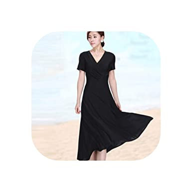 25cfbec2c5f Sexy V Neck Milk Silk Summer Solid Short Sleeve Tunic Dress Plus Size  Mother Casual Dresses