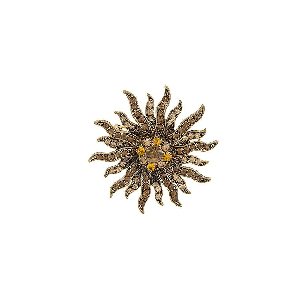 Joji Boutique Gold-on-Gold Crystal Sun/Starburst Pin