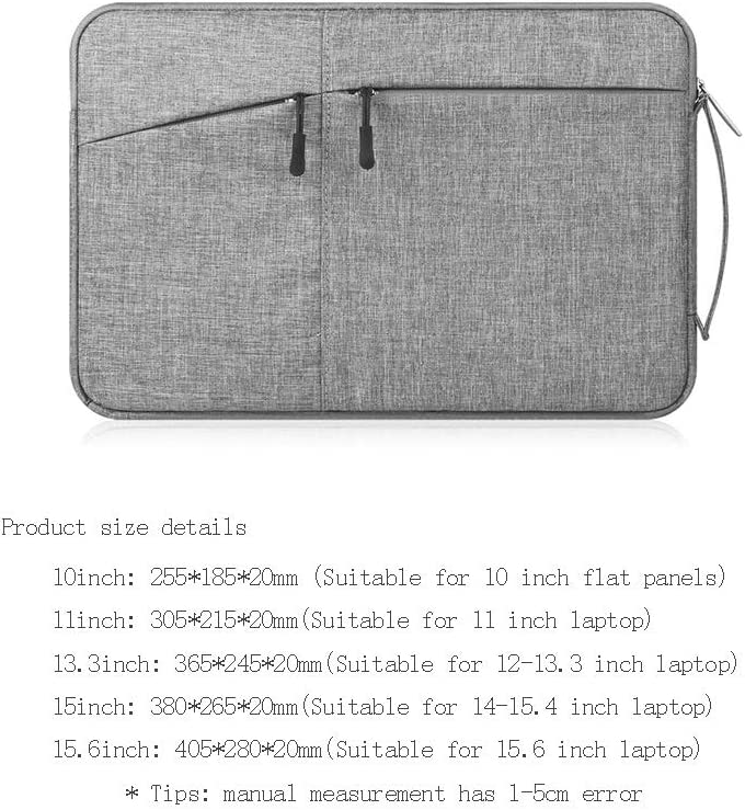 Color : Light Gray, Size : 10inch Female Computer Notebook 13.3-inch Liner Bag MacBook air Canvas Protection Bag