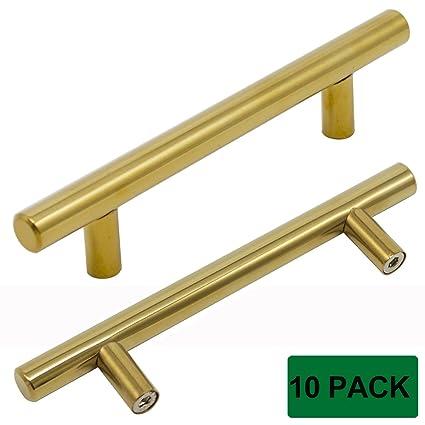 Bon Probrico Brushed Brass Modern Cabinet Hardware Kitchen Cabinet T Bar Knobs  Dresser Pull Bathroom Gold Drawer