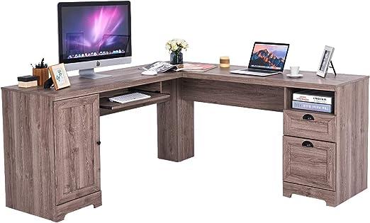 Amazon Com Tangkula 66 66 L Shaped Desk Corner Computer Desk