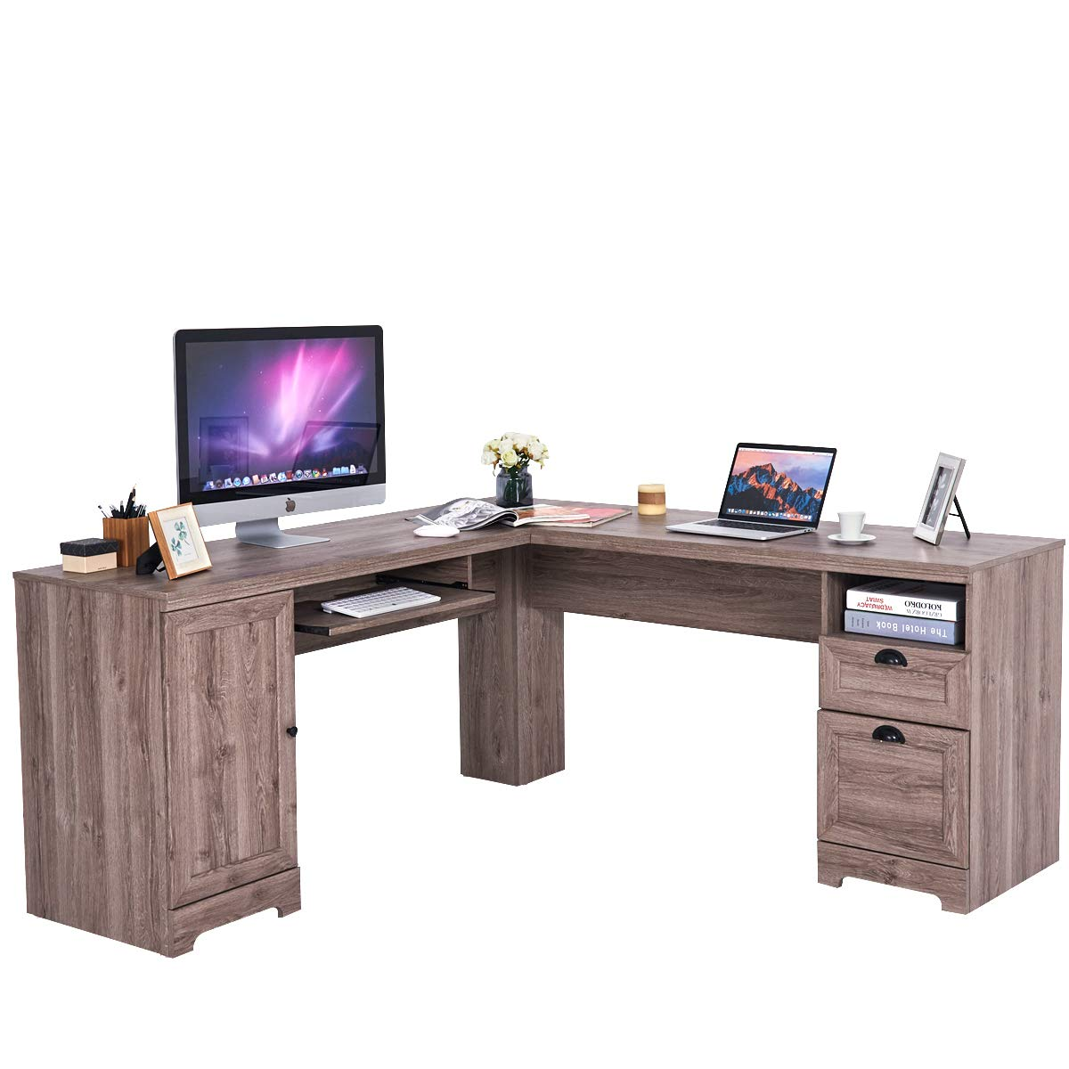 Tangkula L-Shaped Desk Corner Computer Desk, with Drawers and Storage Shelf, Home Office Desk, Sturdy and Space-Saving Writing Table, Wood Grain 66'' × 66'' × 30''(LxW×H) (Gray)