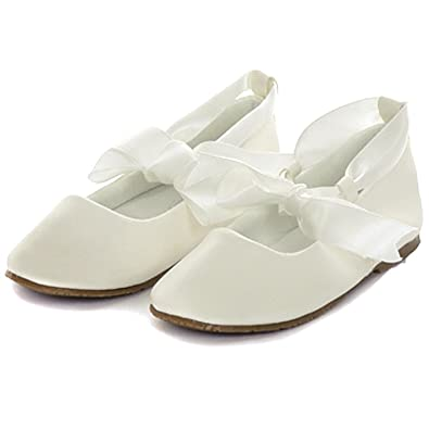 c7caaf1fed4e Girl s Ballet Flat Shoes with Ribbon Tie (Youth 1