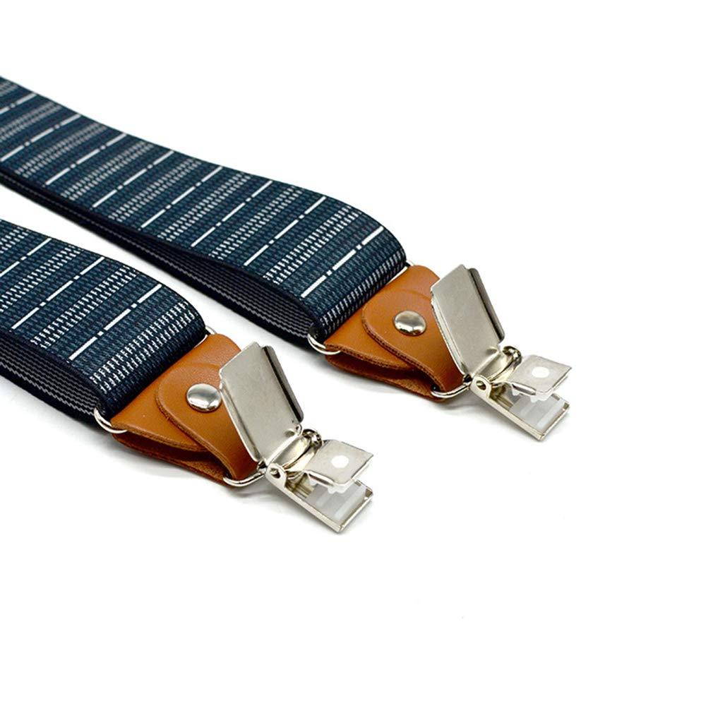 SupSuspen Mens Y Back Striped Suspenders 1.4 In Width Heavy Duty Braces /&3 Clips