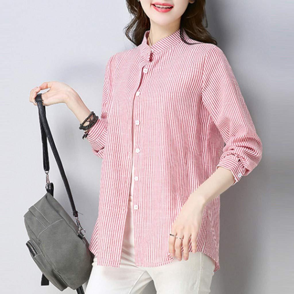 Inverlee Women Plus Size Casual Boho Plaid Blouse Loose Long Sleeve Pocket Shirt Tops