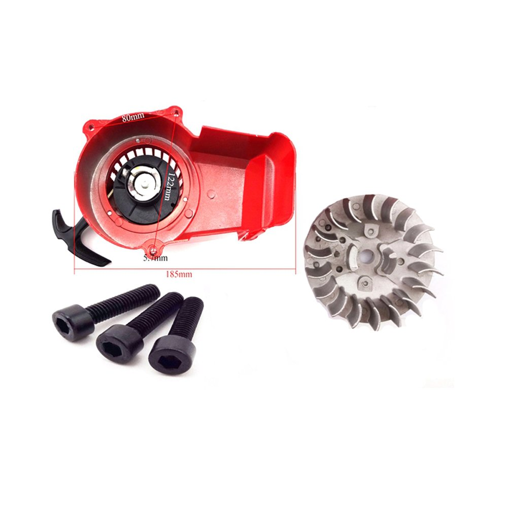 Race-Guy Alloy Red Pull Start Recoil Starter Flywheel For 2 Stroke 47cc 49cc Engine Parts Pocket Bike Mini ATV Quad Dirt Bike