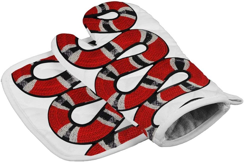 LijiahuaMitts King Snake Heat Resistant Oven Mitts and Pot Holders,Safe Kitchen Cooking Baking Grilling