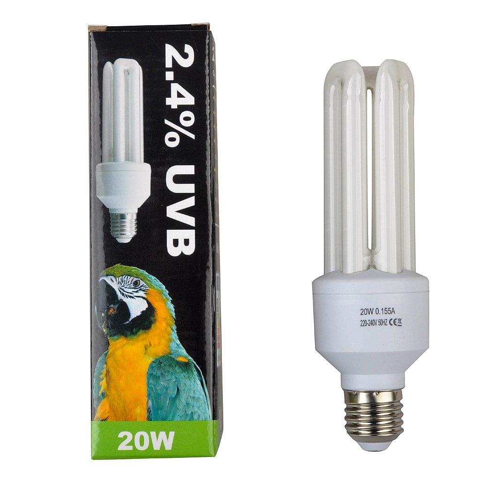Lucky Etc. Compact Bird Lampe, 2,4% UVB, 20W, E27Gewinde 20W E27Gewinde Jinxu