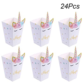 Toyvian Cajas de Palomitas de maíz Unicornio de 24 Piezas ...