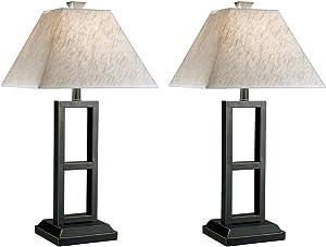 Ashley Furniture Signature Design - Deidra Metal Table Lamp - Chic Linen Shades - Set of 2 - Black Finish