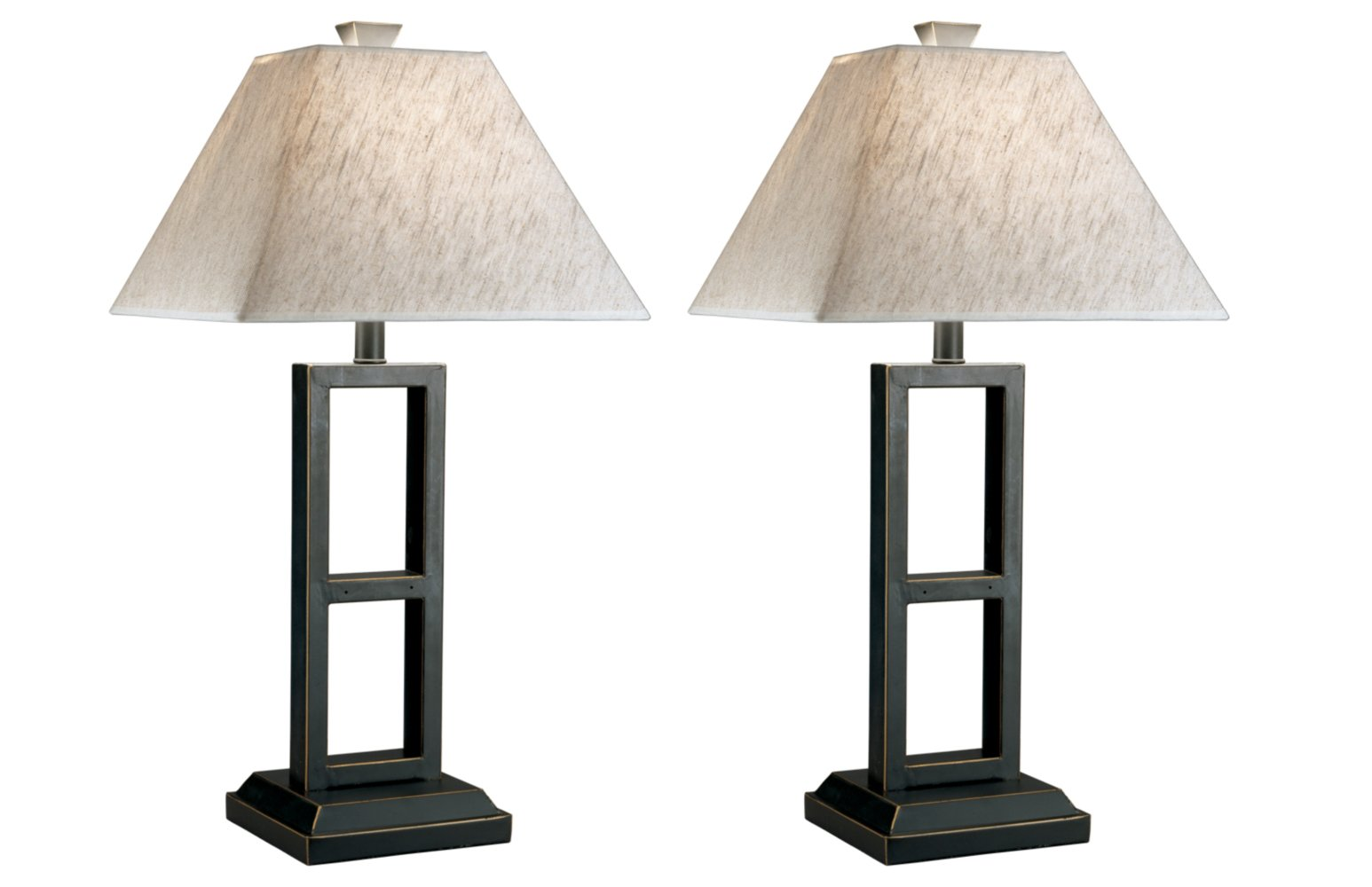 Ashley Furniture Signature Design - Deidra Metal Table Lamp - Chic Linen Shades - Set of 2 - Black Finish