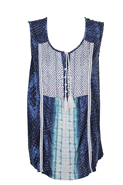 4f6834e0749 Style   Co. Womens Plus Printed Tassels Peasant Top Blue 1X at ...