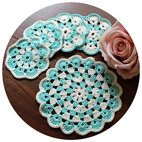 THELUSIS 5pcs Set Handmade Crochet Cotton Lace Round Table Place Mats Doilies Blue/White Coaster Collectible Coffee Table Pad