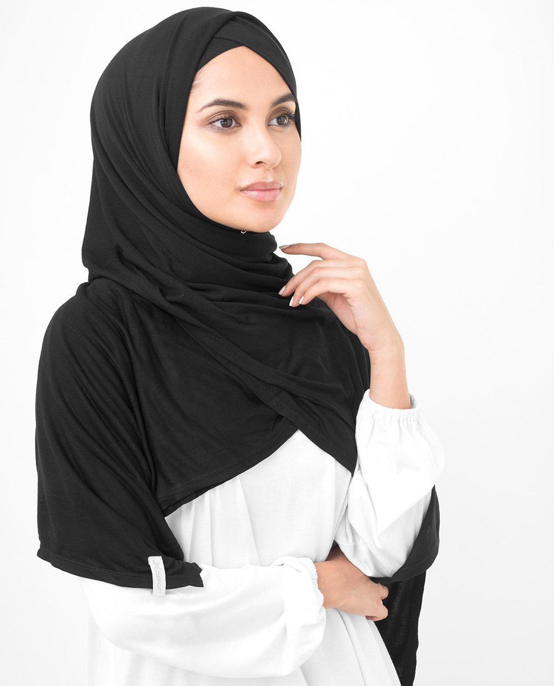 InEssence Jet Black Viscose Jersey Scarf Women Girls Wrap Medium Size Hijab by InEssence (Image #3)