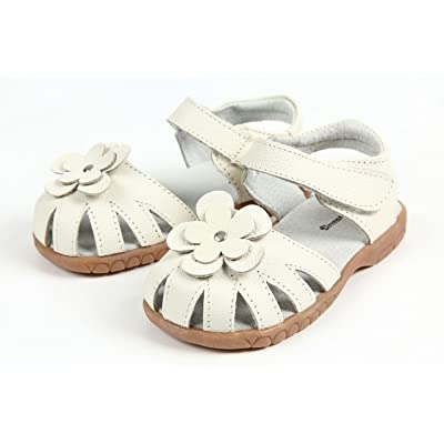 【Dream Studio】Girls Genuine Leather Solid Flower Sandals (9.5 M US Toddler, White)