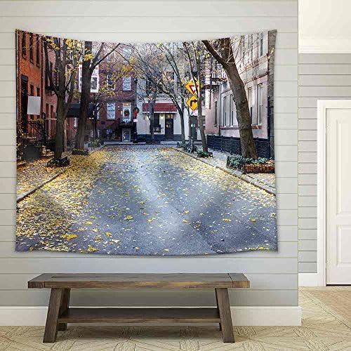 Quiet Empty Commerce Street in The Historic Greenwich Village Neighborhood of Manhattan New York City Fabric Wall