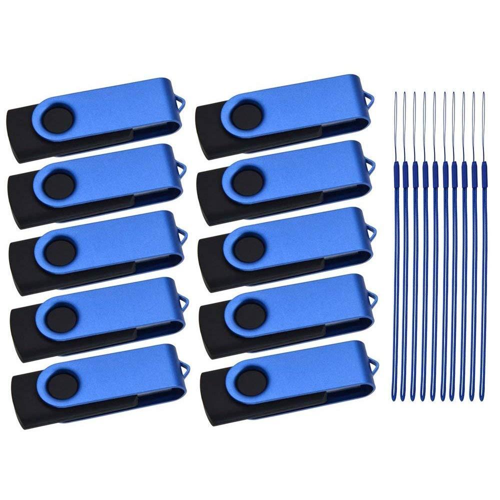 Flash Drive 100 Pack 1GB Bulk Thumb Drives USB 2.0 Memory Sticks Multipack Jump Drives Metal USB Stick Blue Pendrive Swivel Zip Drive Portable Keychain with 100pcs Lanyard by Kepmem