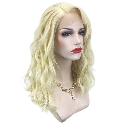 Majome Pelucas de pelo de onda longitud media peluca de fibra frontal de encaje para las