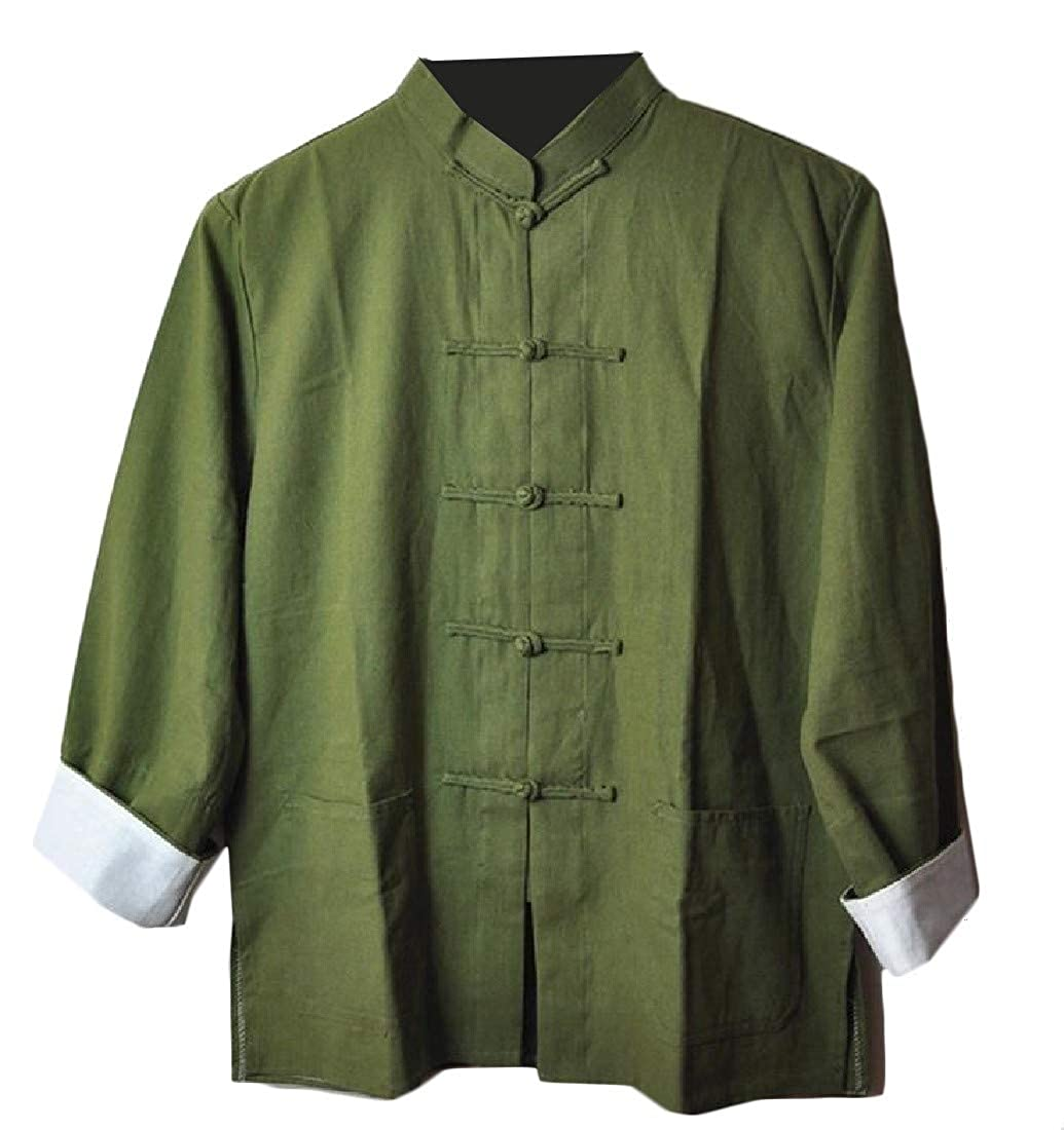 Joe Wenko Men Cotton Linen Chinese Style Solid Color Button Down Casual Shirts