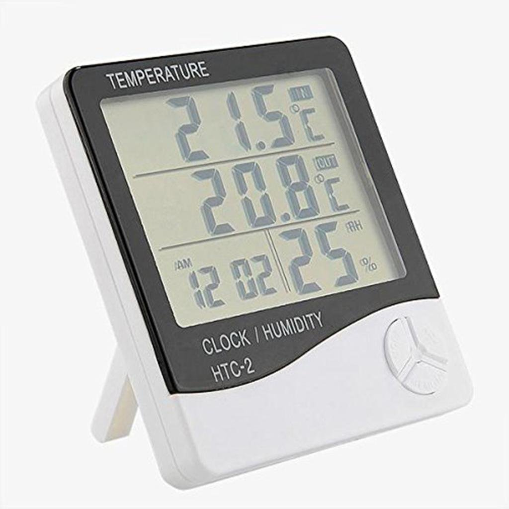 Amazon.com: JPONLINE 1pc Weather Station Digital LCD Temperature Humidity Meter Indoor/Outdoor Room IL termometro Clock Hygrometer With Sensor HTC-2 NEW: ...