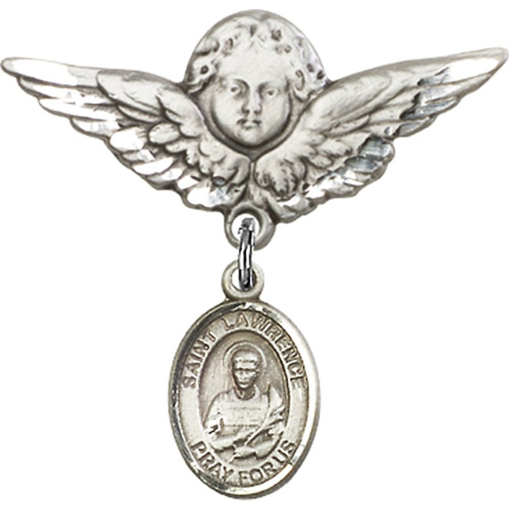Sterling Silver Baby Badge with St. Lawrence Charm and Angel w/Wings Badge Pin 1 1/8 X 1 1/8 inches Bliss Manufacturing 9063SS/0733SS