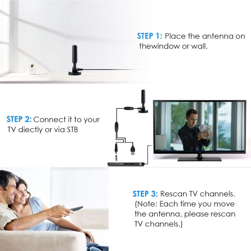 Forart Ultra Thin Flat Indoor 300 Miles HDTV Amplified HD TV Signal Antenna 16FT Coax Ship from USA
