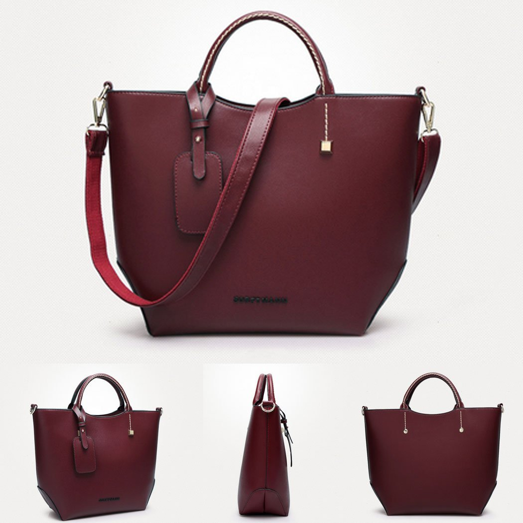 2dc8cf7bdd00 Amazon.com   Korean style Women Lady Leather Satchel Handbag Tote Messenger  Crossbody Shoulder Bag