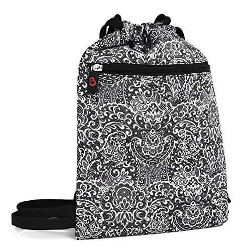 KroO Tablet Drawstring Bag Sleeve fits Kindle Fire Voyage, HD 6, HDX 7, HD 8.9 Keyboard 3G, Black Paisley Print