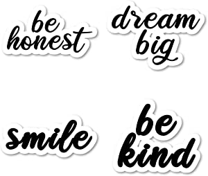 Kind Smile Dream Big Honest Sticker Pack Inspirational Quotes Black Stickers - 4 Pack - Laptop Stickers - for Laptop, Phone, Tablet Vinyl Decal Sticker (4 Pack) S211209