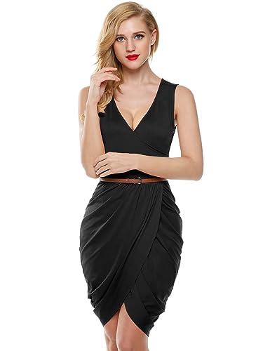 Meaneor Women Wrap V Neck Sleeveless Sexy Draped Cocktail Club Dress w/ Belt