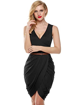 bf7ee3bea7779 Meaneor Women Sexy Plunging V Neck Wrapped Evening Club Mini Tulip Dress ( Black S)