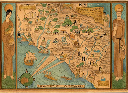 Reproductions Map Historical (Historic Map   Orange County A Historical Map, 1929,   Antique Vintage Decor Poster Wall Art Reproduction   24in x 18in)