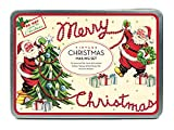 Cavallini Papers & Co. Christmas Vintage Santa Mailing Set, 24 Assorted Glittered Flat Cards with Envelopes