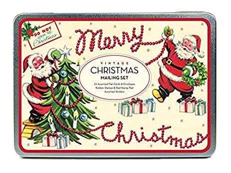 cavallini papers co christmas vintage santa mailing set 24 assorted glittered flat cards with - Mailing Christmas Cards
