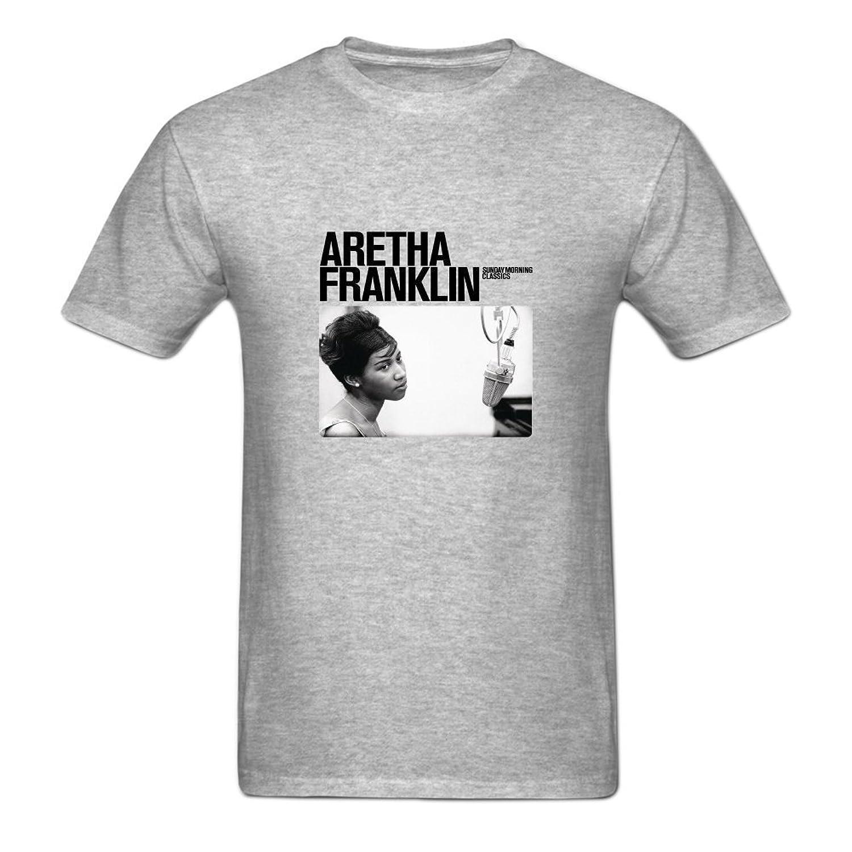 Fuli Lin Men's Aretha Franklin O Neck Short Sleeve Cotton Tee
