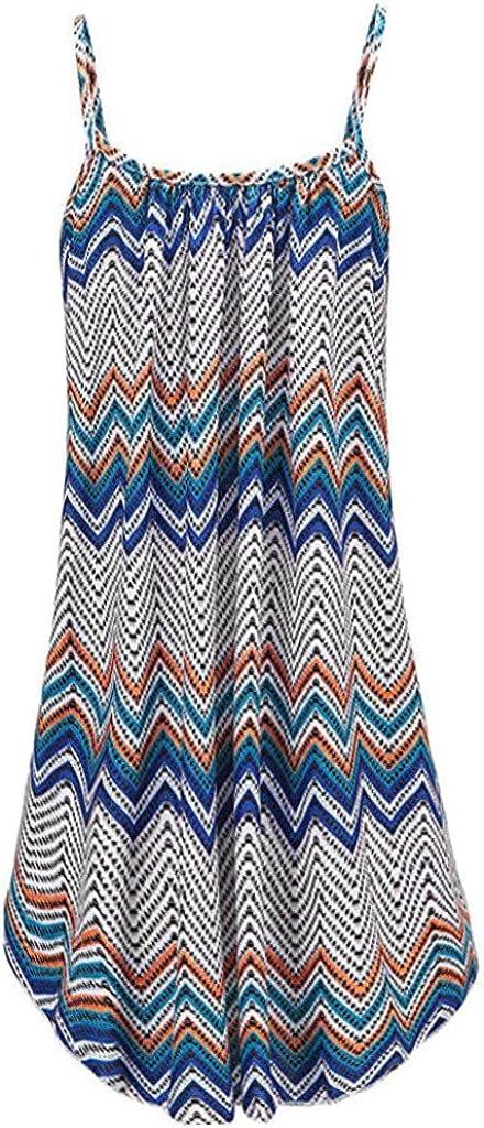 Hotkey Womens Casual Vintage Sleeveless Beach Spaghetti Strap Short Mini Dress Summer Bohemian Printed Party Sundress