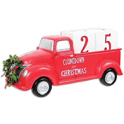 dei countdown to christmas red truck decor - Red Truck Christmas Decor