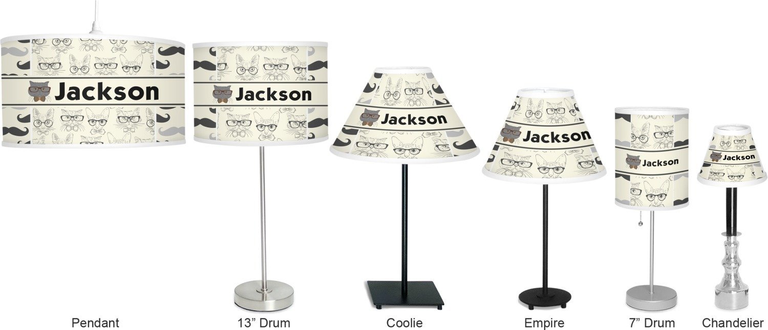 RNK Shops Hipster Cats & Mustache Drum Pendant Lamp Linen (Personalized) by RNK Shops (Image #4)
