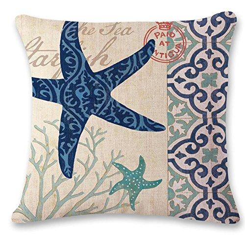 oFloral Starfish Pillow Cover Cotton Linen Throw Pillow Case Cushion Cover Sea Home Sofa Decorative 18