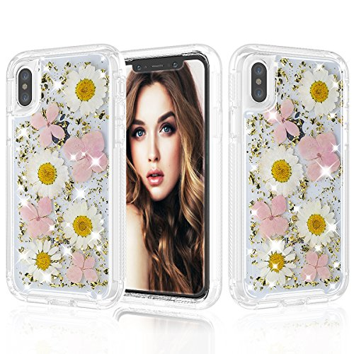 iPhone X Case, UZER Real Dry Flower Style Shockproof Luxury Glitter Sparkle Bling Diamond Twinkle Glitter Shining Sparkle TPU Bumper Impact Defender Full-Body Protective Case Cover for iPhone X 5.8