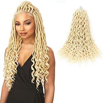 Amazon Com Goddess Locs Crochet Hair Wavy Faux Locs With Curly Ends 100 Quality Kanekalon Fiber Synthetic Braiding Hair Extension 6packs Lot 20inch 613 Beauty