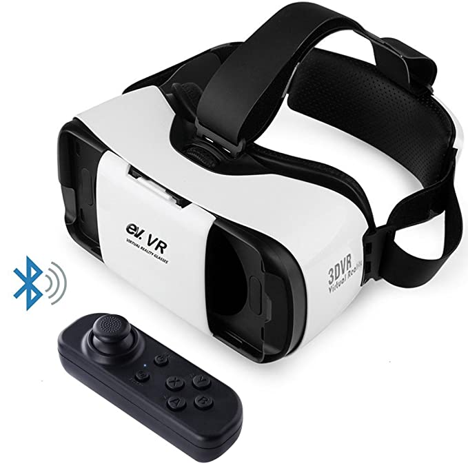 6d485731f02f Virtual Reality Headset VR Glasses with Remote Controller for 3D Movies and VR  Games