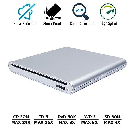 Amazon.com: Silver USB External Blu-ray DVD CD Optical Drive ...