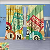 AmaPark Thermal Insulated Unlined Window Curtains Bingo Game with Ball and Cards Pop Art Stylized Lottery Hobby Celebration Theme Set of Two Panels 108'' W by 84'' L Pair