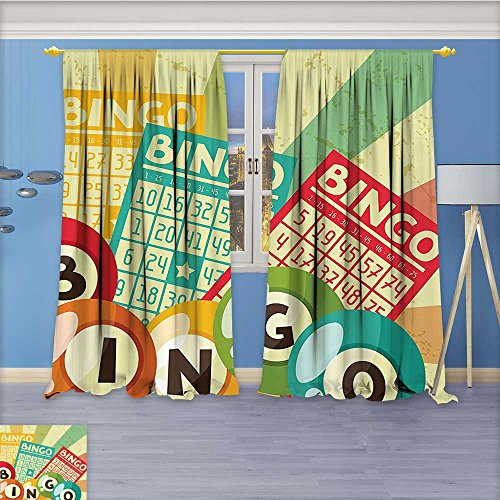 Nalahome Darkening Grommet Unlined Window Curtains, Bingo Game with Ball and Cards Pop Art Stylized Lottery Hobby Celebration Theme Floral Pattern, Set of Two Panels, 72W x 84L inch by Nalahome