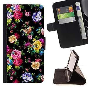- Black Vibrant Floral Wallpaper Print - Estilo PU billetera de cuero del soporte del tir???¡¯????n [solapa de cierre] Cubierta- For HTC One M8 £š Devil Case £©