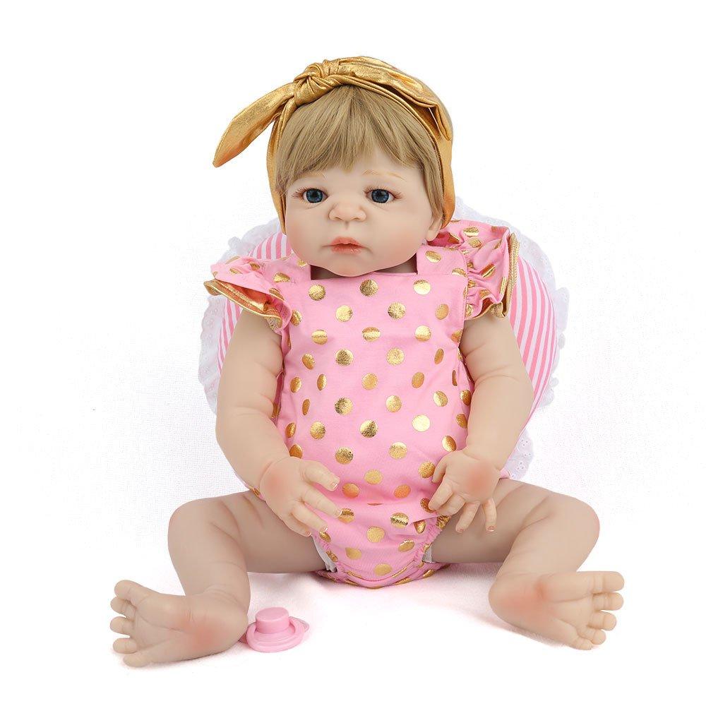 GHCX Silikon-Simulation Reborn Puppe Kann Von Wasser Begleitet Werden Süße Baby Spielzeug Kindergeburtstag Geschenk 55CM