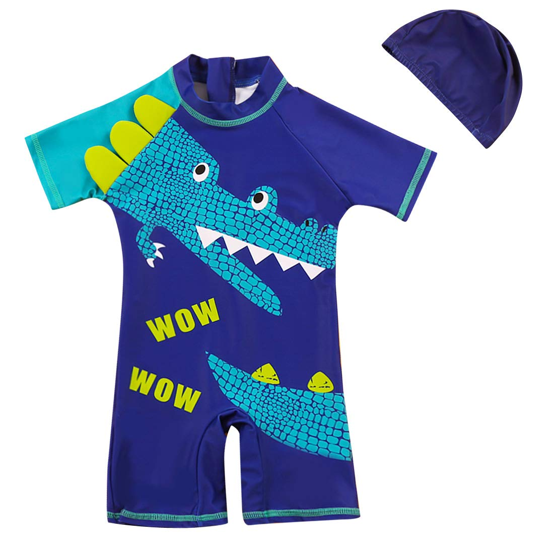 Happy Cherry Baby Boys' Overall Swimwear Set with Swimming Cap for 1-10T Boys
