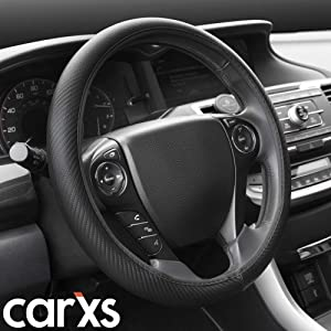 BDK SW-644 All Black Carbon Fiber UltraSport Series Steering Wheel Cover-Synthetic Leather Perforated Design & Stitching